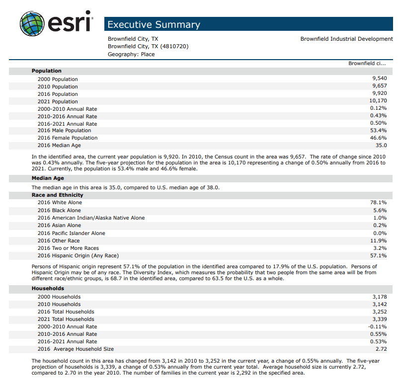 ESRI Executive Summary Brownfield TX p1