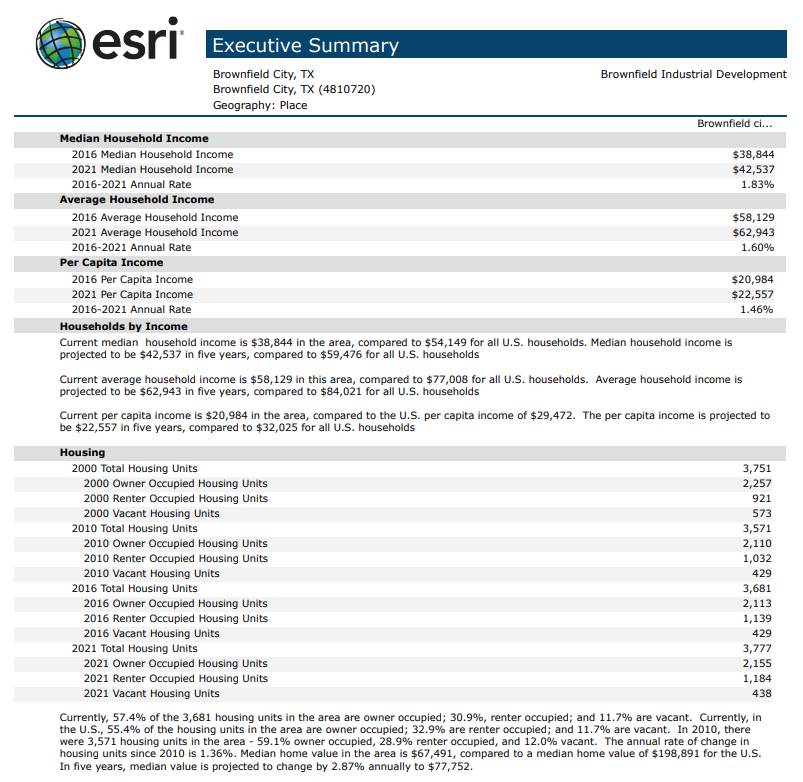 ESRI Executive Summary Brownfield TX p2
